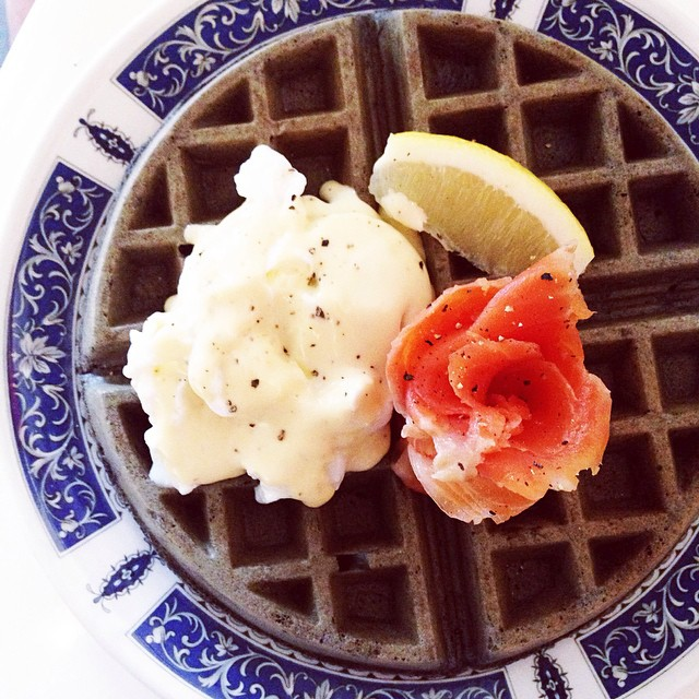 Squid Ink Waffle with Smoked Salmon