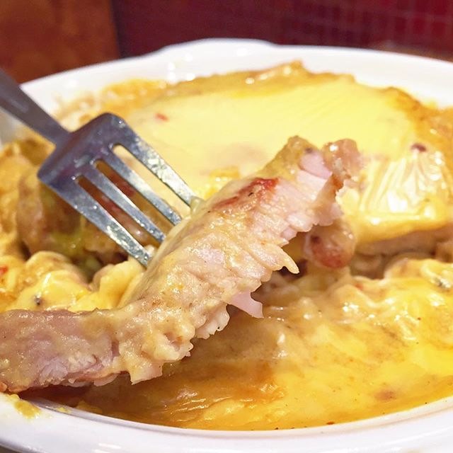 Baked Curry Pork Chop Noodles with Cheese