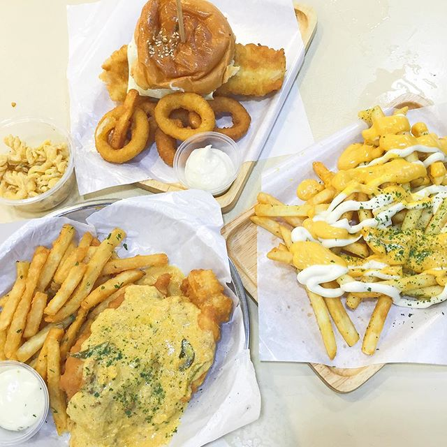 Salted Egg Fish & Chips, Crispy Fish Burger, Cheese Fries