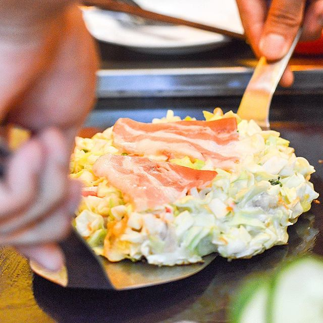 Freshly made Okonomiyaki ($12 - $16) and flipped RIGHT BEFORE YOUR EYES!
