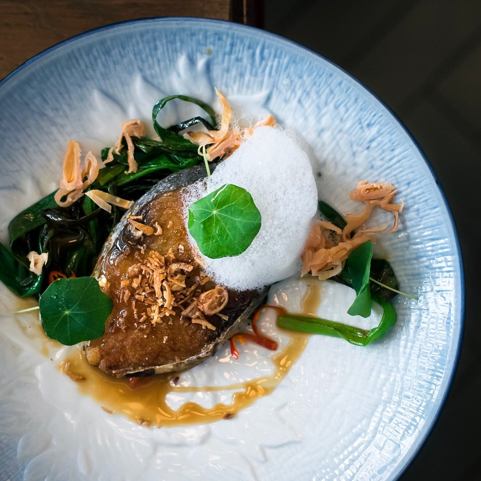 Caramelised Mackerel with Lychee ad Spring Onion.