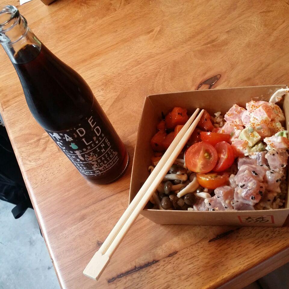 Salmon & Tuna Sashimi Rice Bowl with Cold Drip Coffee