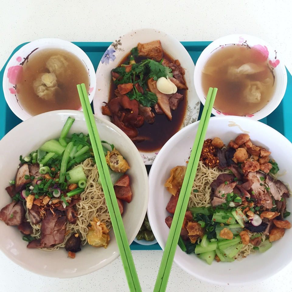 Very Good and Authentic Thai Wanton Mee (large: $5, jumbo: $6), and Braised Pig Trotter ($5 portion)