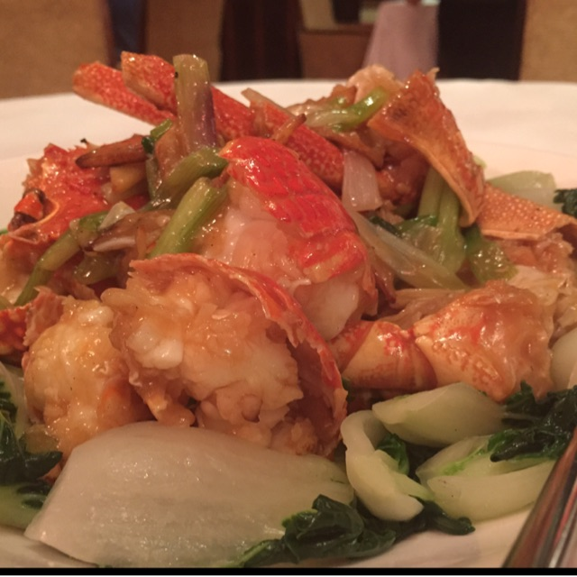 Live Australian Lobster Sautéed with Spring Onion & Ginger