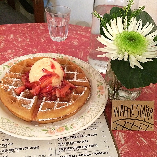 So this is said to be pronounce as the Strawberry Meh-stra-tion (you'll figure out it sounds like menstration actually) Buttermilk Waffle with Vanilla Ice Cream!