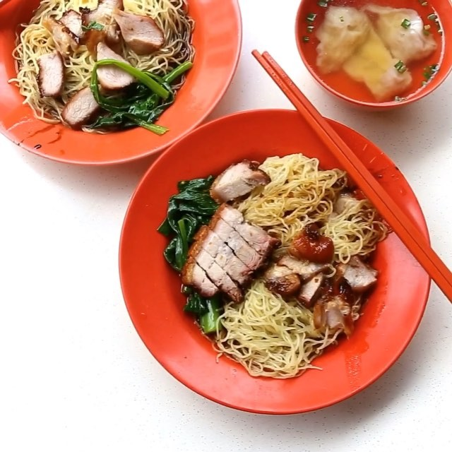Relishing in some old school wanton mee - simple, no fuss, comforting, tender roasted Char Siew, springy noodles.