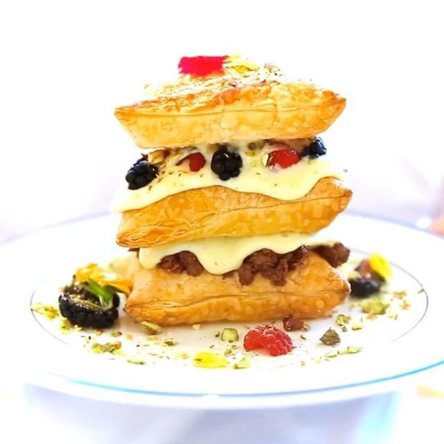 Weekend brunch was Custard Mille Feuille, mixed berries and crunchy hazelnut.