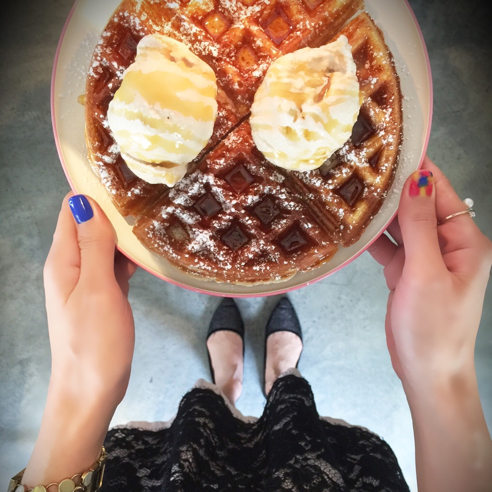 Waffle With Maple Syrup And Honey Cinnamon Ice Cream