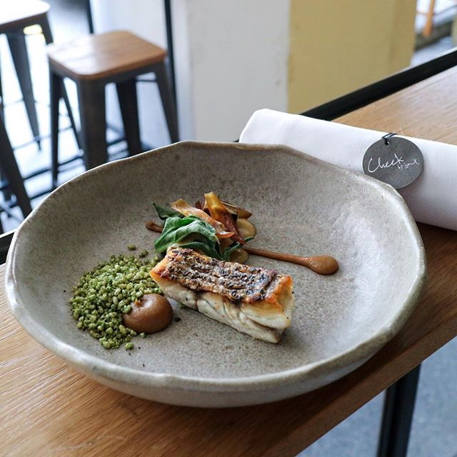The second course of the lunch menu and I have chosen the Barramundi fish which was served with rice krispies, charred leeks, caramelized onions and bonito butter.