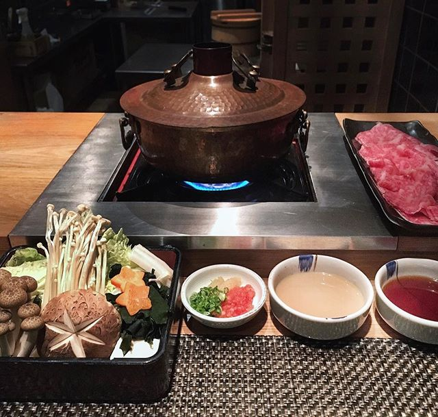 Get cozy with me around the pot of mushroom broth and Shabu Shabu with A4 Ribeye [$92] that just melt-in-your-mouth.