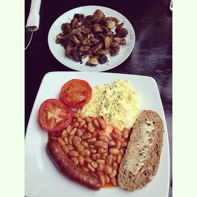 All day breakfast and sautéed mushrooms.