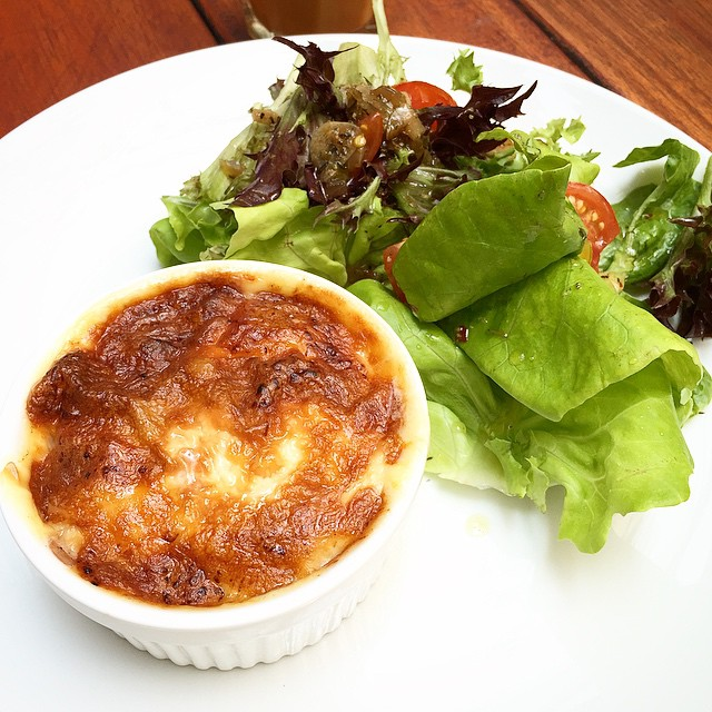 Cheesy Baked potato with Bacon and a side of salad @ Three Little Birds, Sentul  Lunch set of the day.