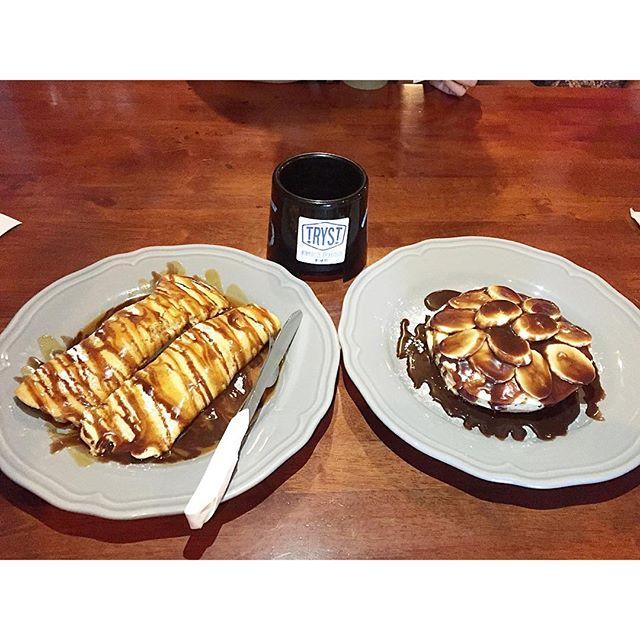 Banana chocolate crepe and chocolate pancakes.