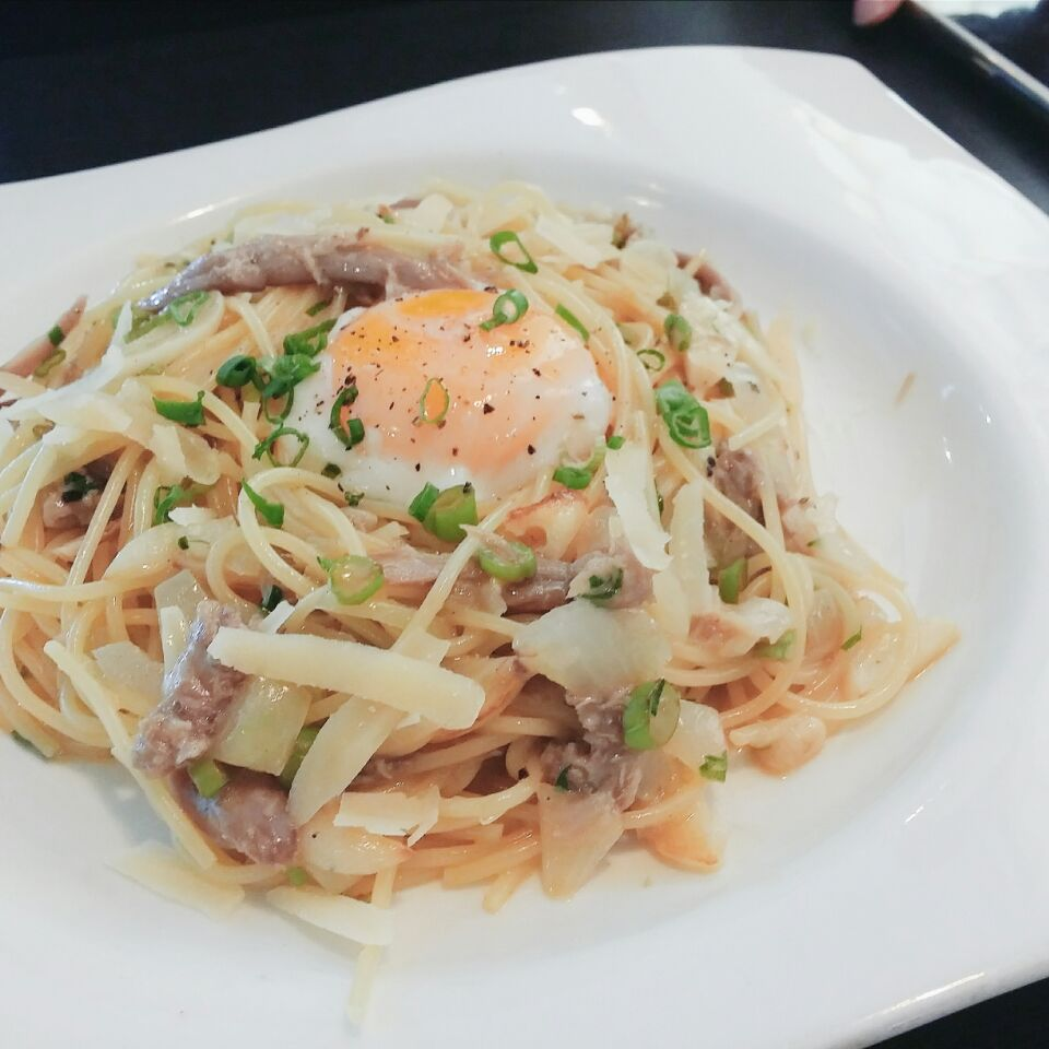 Creamy Carbonara Topped With Sous Vide Egg