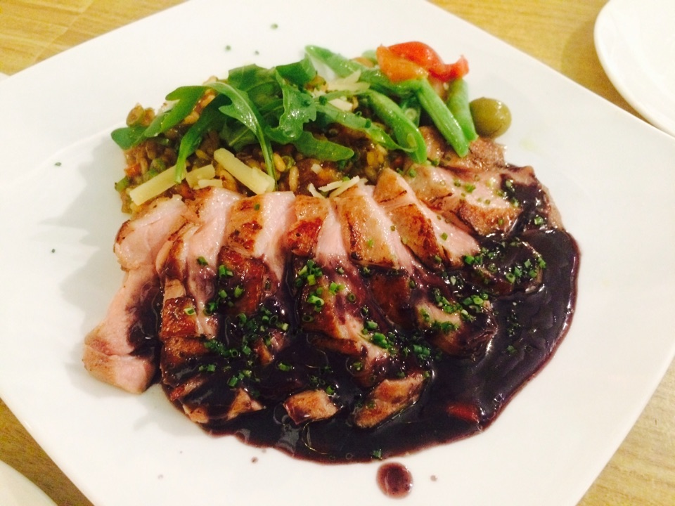 Black Tea Infused Duck Breast With Foie Gras Jus Risotto & Black Berry Coulis