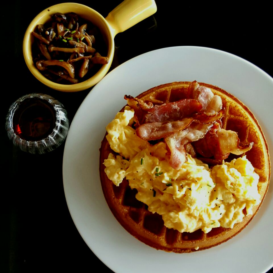 Waffles With Scrambled Eggs & Bacon