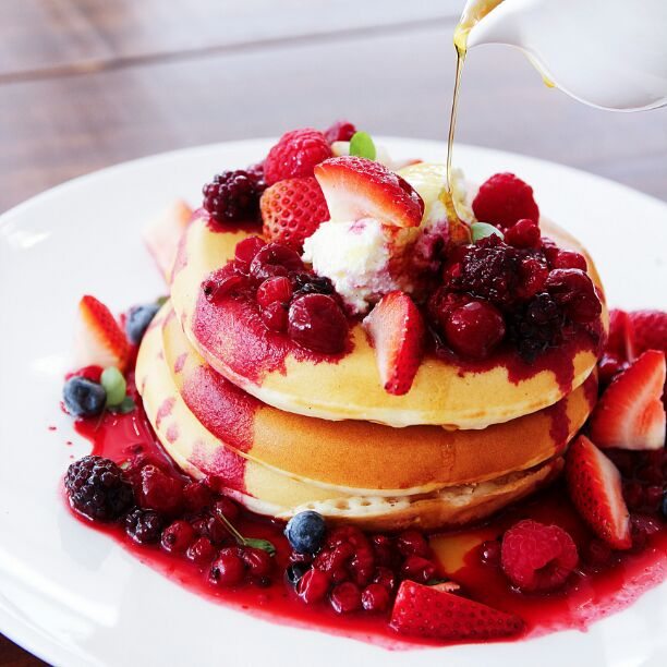 Super thick stacks of fluffy golden hotcakes