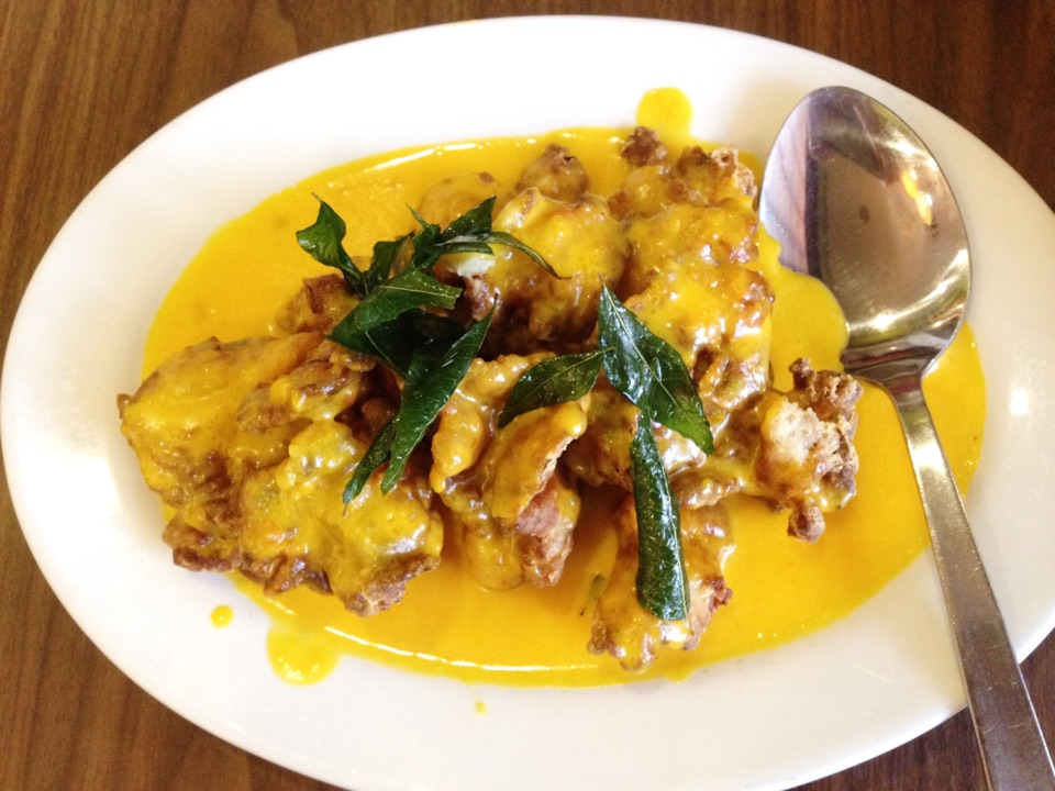 deep fried oyster mushrooms in pumpkin sauce