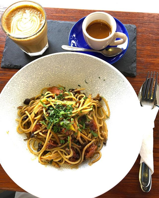 Farmers pasta and barista breakfast coffee at atlas coffeehouse.