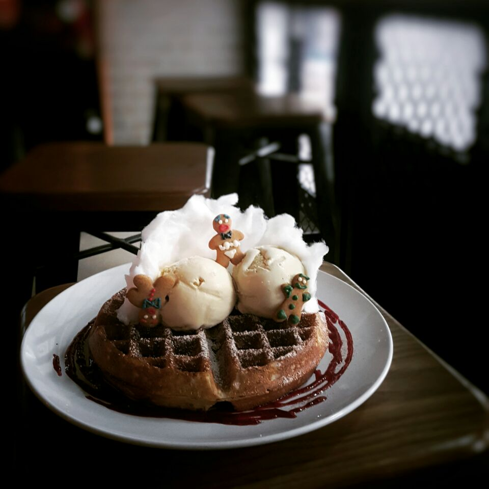 Gingerbread Waffles ($8) With Smoked Peppermint & Barley Tea Ice Cream ($4.50 Per Scoop)