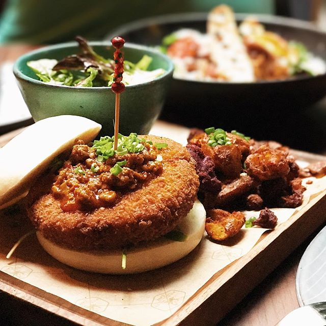 Mapo tofu burger - perhaps the best tofu burger you would have.