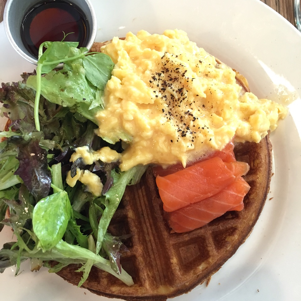 Waffle with Salmon And Scrambled