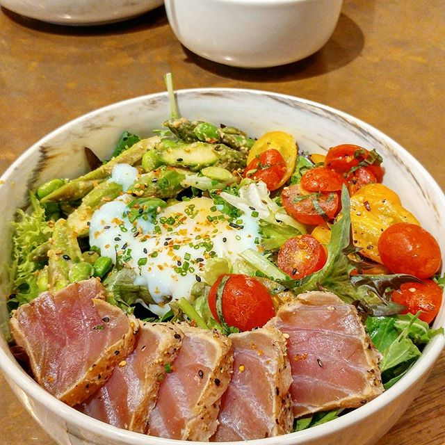 Lunch today was Tsukiji bowl ($18 with additional garden greens) with the running gang again.