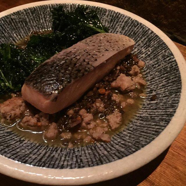 Ocean Trout Confit ($29) 🐟 Served with le puy lentils & fennel pork sausage cassoulet, wilted kale, creme fraiche.