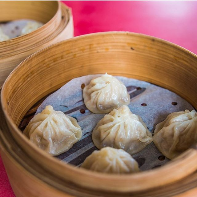 Each handmade xiao long bao at this hawker stall in Chinatown Complex costs $0.60, and holds a good amount of juicy pork filling.