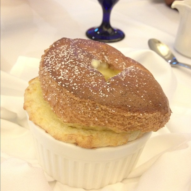 Grand marnier and polenta soufflé.