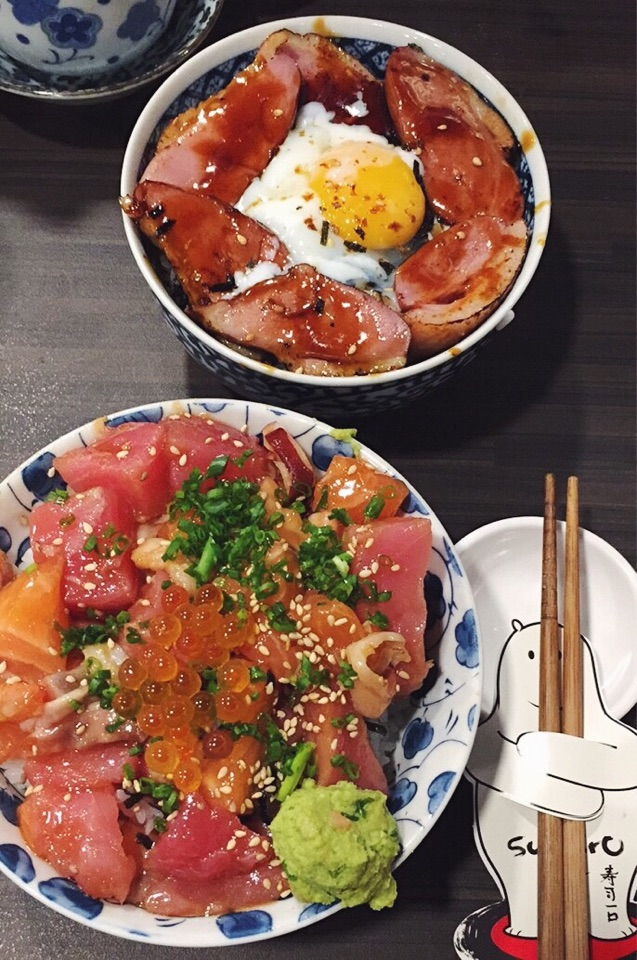 Bara Chirashi Don & Glazed Duck with Onsen Egg