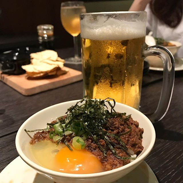 TGIF with Asahi and minced pork rice bowl!