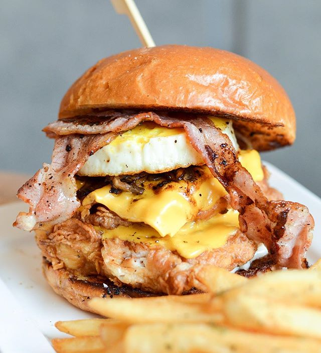 Glorious glorious mess of this Boss Burger (Fish - $17), available with pork and beef as well.
