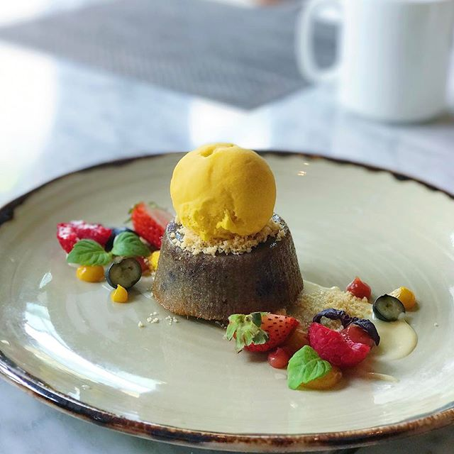[HAVELOCK RD] Sweet potato cake with mango sorbet.