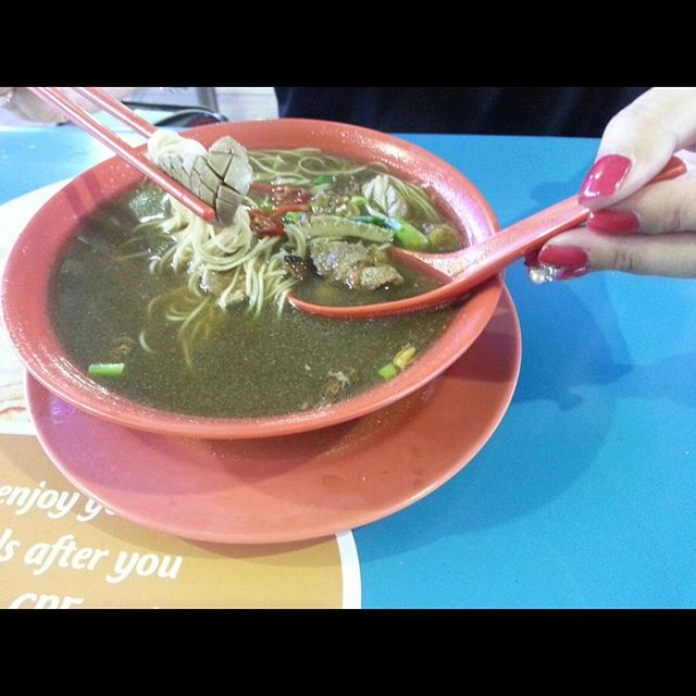 Fave bowl of Mee sua with kidney and liver.