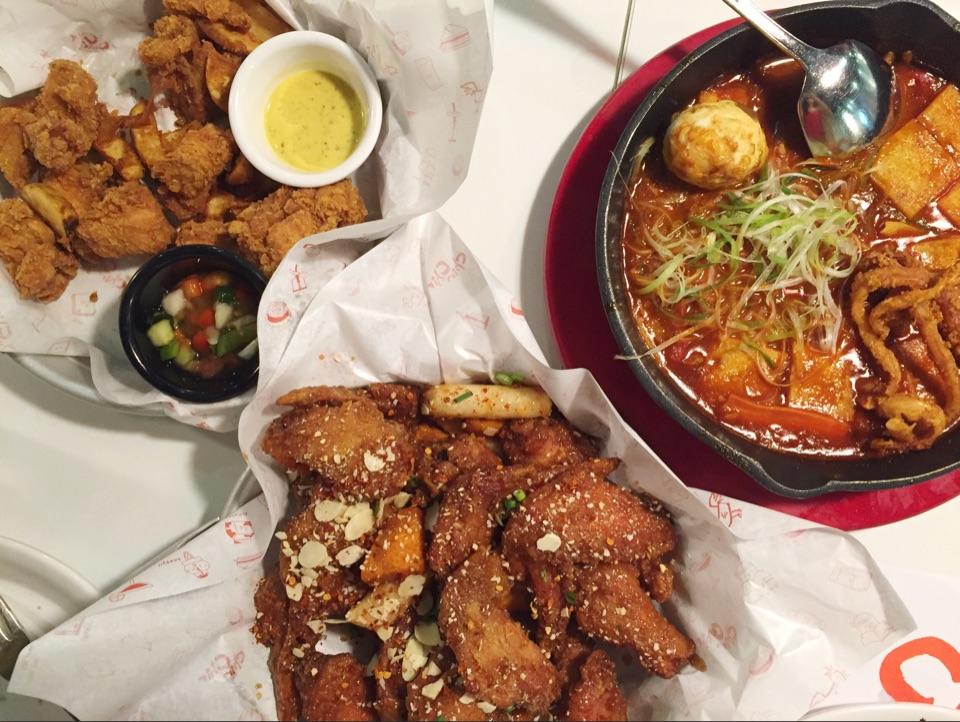 Crispy Fried Tenders, Garlicky Wings, Spicy Tteobokki