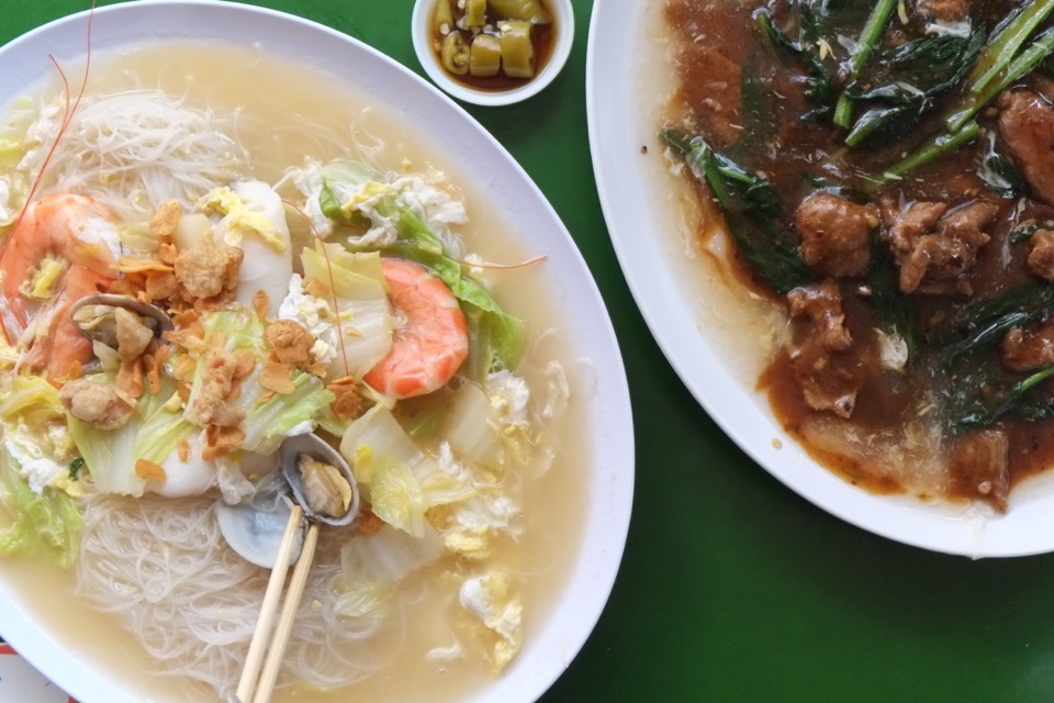 Seafood White Bee Hoon & Beef Hor Fun ($5)