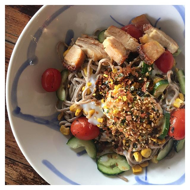 Chilled Soba 2.0 // Buckwheat Soba, Charred Corn, Japanese Cucumber, Pork Belly, Mushrooms, Cherry Tomatoes & Onsen Egg topped with Furikake!