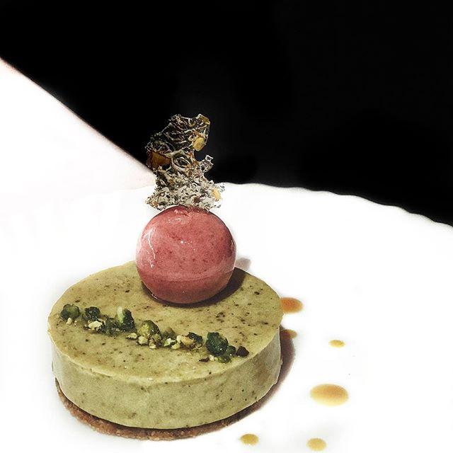 The most insta-worthy dessert😍 • Vibrum [$12.80] // Pistachios, sour cherry mousse & confit, pistachio tuile • I💓Pistachios!