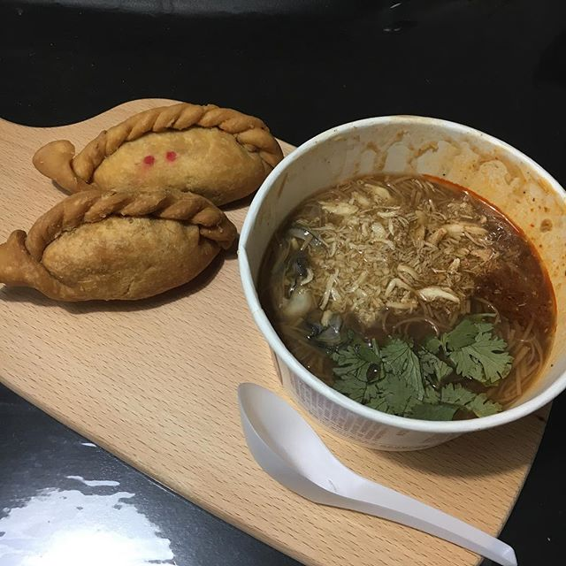 Dinner consists of: OCK ($3.30) HK BBQ puff, Curry O and oyster mee sua ($4.30) from Shilin.