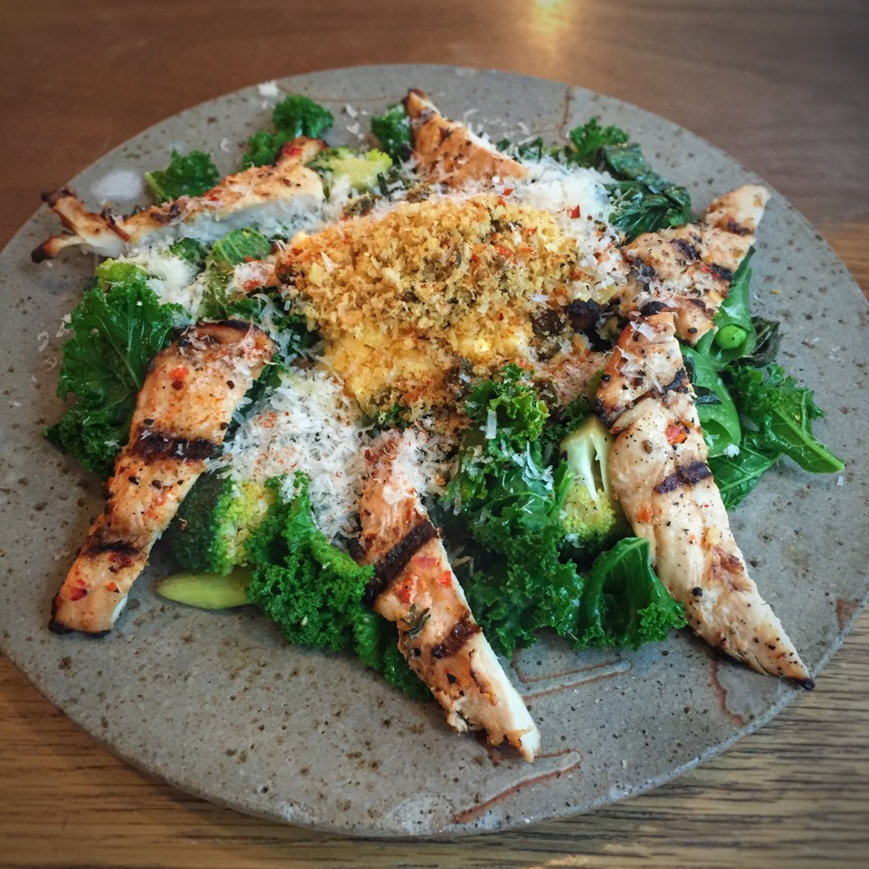 """Sautéed Kale & Egg White Scramble plus add-on of Grilled """"Chilli"""" Chicken ($19 + $7 before tax)"""