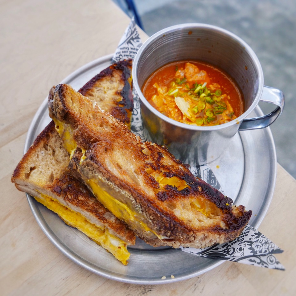 5-Cheese Grilled Cheese with Kimchi Tomato Soup ($18++)