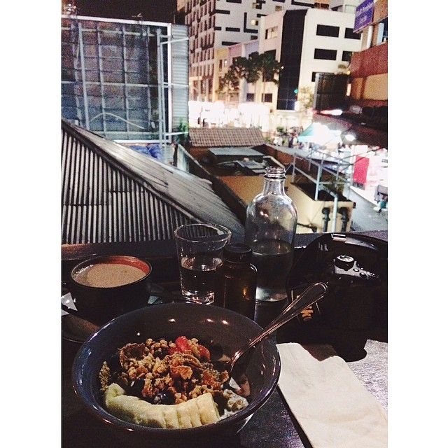 #Breakfast for #dinner with the view of my beloved city.