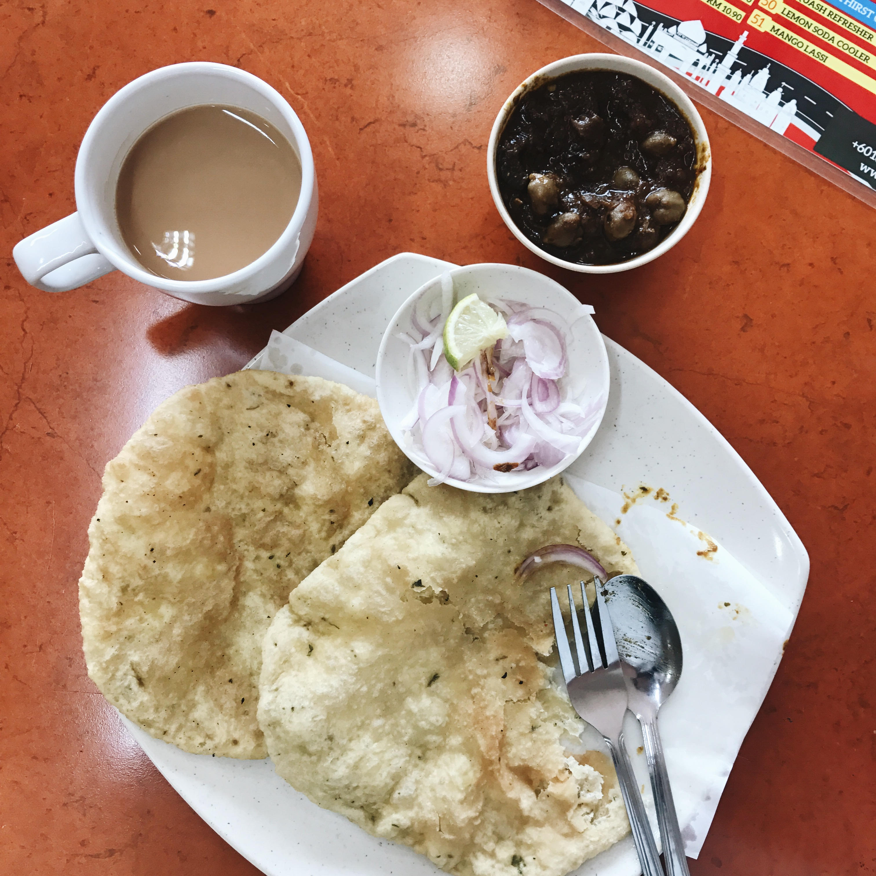 For Chole Bhature and Masala Tea