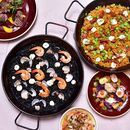 Salivating just by looking at the delicious paellas, grilled octopus, grilled pork and appetizers!