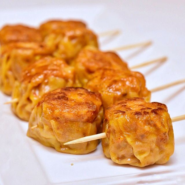 Delicious pan-seared Otah Siew Mai.