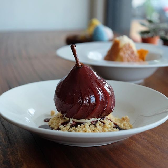 Red Wine Poached Pear ($14) .
