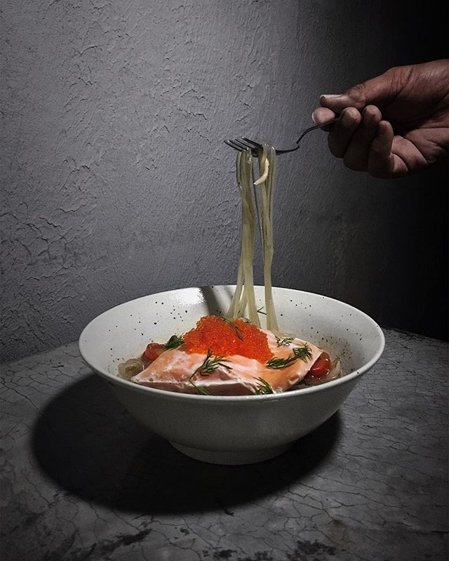 "Salmon ""Pho"" with yuzu broth ( $22 ) ."