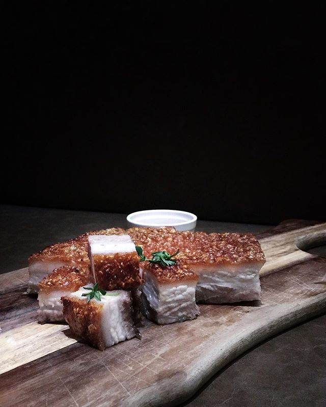 Crispy Pork Belly with Apricot Ginger Sauce .