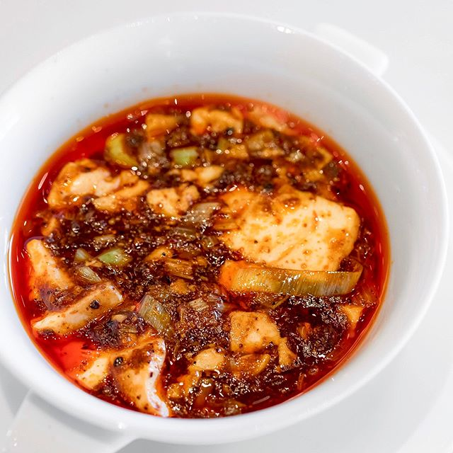 """Chen's Mapo Doufu"" Stir-fried tofu in hot Szechwan pepper-flavoured meat sauce (陳麻婆豆腐/四川飯店伝統のマーボードーフ, prob the only pleasant dish that worth the fame."